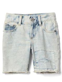 Stretch rip & repair bleach shorts