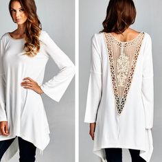 GORGEOUS TUNIC W/ LACE DETAIL! ❤️NEW ❤️ New Arrival Tunic W/ Lace Detail on Neck & Back! Tops