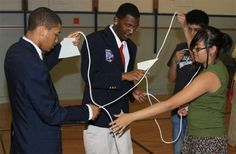 Members of the Pulaski Youth Leadership Initiative were searching for a way to mentor younger students in MPS. With the help of school psychologist Ms. Weckworth, a partnership between Pulaski High School and Doerfler School was formed. Students kicked off the mentoring and team building program with ice breakers like the rope untangling activity pictured here.