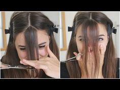 Face Framing Bangs - Step by Step Tutorial How To Cut Bangs, How To Style Bangs, Cut Side Bangs, Diy Side Swept Bangs, How To Cut Fringe, Long Layered Haircuts, Haircuts With Bangs, Cut My Hair, Hair Cuts