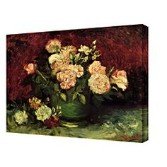 Van Gogh 'Roses and Peonies' Gallery Wrapped Canvas Art