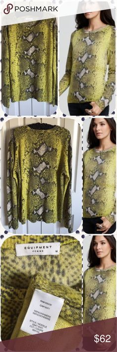 🐉 Equipment Snake Skin Design Sweater 🐉 Artistic talent comes to the top in a cashmere sweater that will not stop! Exquisite design worn by many a celebrity! One small hole was repaired ( see last photo) very difficult to notice. I wash cashmere by hand in baby shampoo! No wear, no piling! Equipment Sweaters