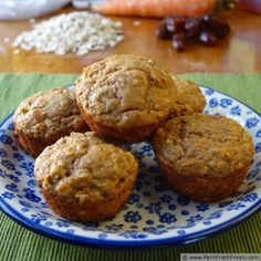 Farm Fresh Feasts: Healthy No Sugar Carrot Cake Muffins--swap buttermilk for almond milk with apple cider vinegar and oil for yogurt