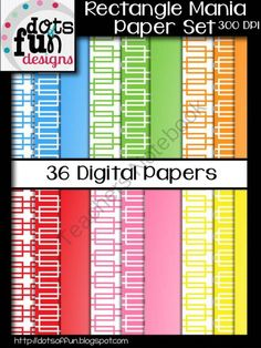 Digital Papers: Rectangle Mania from Dots of Fun  on TeachersNotebook.com (36 pages)  - Digital Papers by Dots of Fun Designs