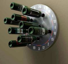 Interesting design which looks like wine racks has been pinned on a dart board