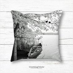 Pillow, decor, birds, black and white, floral, spring summer fall, art, home decor, throw pillow, gift, CharmingPrints™