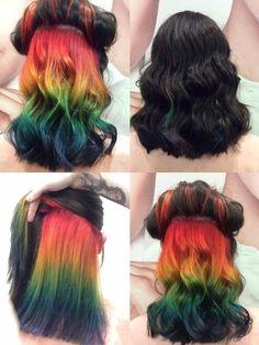 Hidden rainbow hair done by Marley Irena