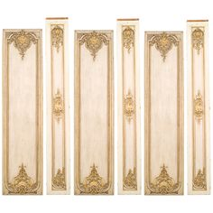 Set of Six French Louis XV Style White and Gold Painted Pilasters OFFERED BY NEWEL LLC $27,500