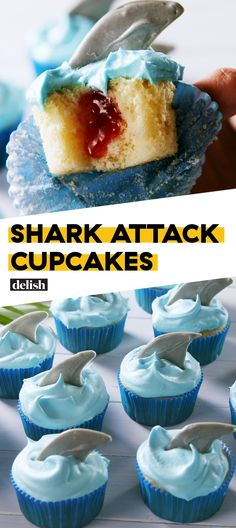 Celebrate Shark Week With These Killer Shark Attack Cupcakes Cupcake Recipes, Cupcake Cakes, Dessert Recipes, Baking Cupcakes, Köstliche Desserts, Delicious Desserts, Yummy Treats, Easy Kid Friendly Dinners, Savoury Cake
