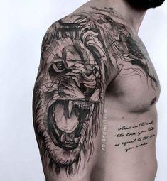 shoulder lion tattoos