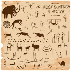 Illustration about Set of rock paintings in vector. Illustration of symbol, archeology, hunter - 66965672 Native Symbols, Native American Symbols, Native American Artifacts, Native Art, Stone Age Art, Cave Drawings, Antler Crafts, Laser Art, Art Plastique