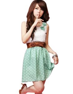 New Korean Fashion Style Polka Dot Sweet Lovely Mini Dress Orange/green Lace Top Stylish Fashionable party Gift For Women Girl