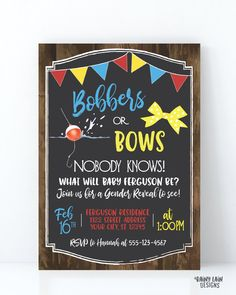 Bobbers or Bows Gender Reveal Invitation Fishing Gender Reveal Invite Wood Rustic Bunting Bobber Bow Yellow Red Blue Bobbers and Bows Gender Reveal Themes, Gender Reveal Party Decorations, Gender Reveal Invitations, Invite, Personalized Invitations, Baby Gender, Good Good Father, Reveal Parties