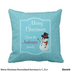 Merry Christmas Personalized Snowman Throw Pillow #snowman #christmas #pillows #homedecor #zazzle