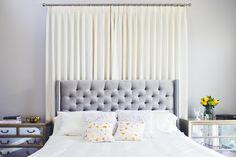 valspar, gray, clark and kensington paint, chriselle lim Curtain behind headboard