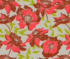 curtain or pillow fabric - vintage_poppy_orange fabric by holli_zollinger on Spoonflower - custom fabric