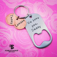 Keychain for Dad Fathers Day Custom Bottle by TheFearlessBeader