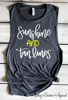 Sunshine and Tan Lines Summer Tank Tops Bella Flowy Muscle Tank Beach Shirts Summer Vacation Shirts Swimsuit Cover Up Beach Coverup Custom – Travel Beach Shirts, Vacation Shirts, Cute Shirts, Beach Tanks, Vacation List, Funny Shirts, Summer Tank Tops, Summer Tshirts, Cute Summer Shirts