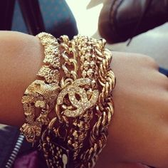 Chunky arm candy Chanel accessories. Giving me life this morning!