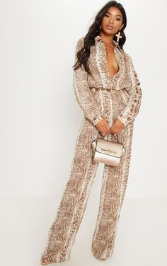 f2f0ecb85e9ee Brown Snake Print Wide Leg TrouserWe are loving prints this season and  these wide-leg