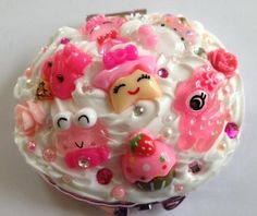 Kawaii Decoden Pink Whipped Cream Pocket Mirror by KawaiiWhimsy, $14.00
