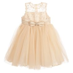 Couche Tot Girls Gold Tulle Dress with Bow Brooch at Childrensalon.com