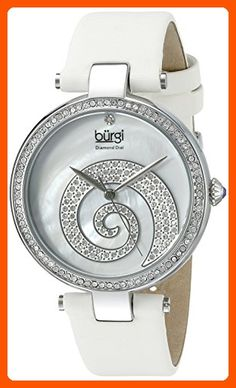 Burgi Women's BUR143WT  Round White Mother of Pearl and Silver Dial with Swarovski Crystals Quartz Movement Satin Strap Watch - All about women (*Amazon Partner-Link)