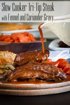 Slow Cooker Tri-Tip Steak with Fennel and Coriander Gravy – A Little And A Lot Cooking Tri-Tip Steak in the slow cooker is a sure-fire method for falling-apart-tender steak that's juicy and packed with flavor. Pork Recipes, Slow Cooker Recipes, Fall Recipes, Holiday Recipes, Dinner Recipes, Crockpot Recipes, Slow Cooker Tri Tip, Cream Cheese Mashed Potatoes, Cooking Tri Tip