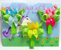 Flower Hair Clips / Hair Clippies - Hair Bows /  3 Tulip Flowers / Pink, Yellow, Blue Ribbon sculpture Flowers.