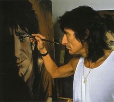 Celebrity artists at work: Ronnie Wood of the Rolling Stones The Rolling Stones, Keith Richards, Jack White, High Society, Ronnie Wood Art, David Wood, Ron Woods, Greatest Rock Bands, Art Music