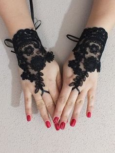 Black Wedding gloves french lace gloves bridal bridesmaid gloves lace gloves fingerless gloves black gloves free ship from JasmneAccessores on Etsy. Diy Lace Gloves, Black Lace Gloves, Wedding Gloves, Wedding Wear, Wedding Dress, French Lace, Bikini Fashion, Fingerless Gloves, Women Wear
