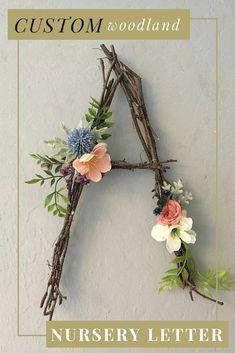 Get this dreamy rustic woodland nursery twig letter / monogram for your baby's nursery or child's bedroom! #affiliate #etsy #nursery #nurserydecor #bedroom #bedroomdecor