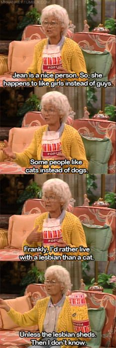 """Frankly, I'd rather live with a lesbian than a cat. Unless the lesbian sheds. Then I don't know."" Golden Girls"