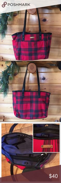 """CHAPS Plaid Hobo Handbag CHAPS Plaid Cameron Double Handle Hobo Handbag  EUC Fabric and vinyl material.  Front pocket, Snap top closure, 3 large opening one zips in the middle. Small inside zip pocket, cellphone and multifunction pockets, Detachable wristlet.  12"""" (L) x 9-1/2"""" (H) x 3"""" (D) 10"""" Drop Red/Black/Blue/White Chaps Bags Hobos"""