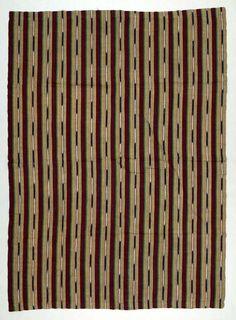 Africa | Wrapper ~ aso oke ~ from the Yoruba people in Iseyin, Oyo State, Nigeria | ca. mid 20th century | Cotton.