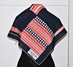 Vintage LANVIN Paris Scarf / Red and Navy Blue / by MRetroBoutique