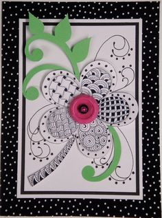 Art Card Zentangle Flower. $20.00, via Etsy.