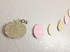 Pumpkin Party Garland in Pink, Ivory and Gold Glitter. Little Pumpkin Party Decor. Pumpkin Garland. READY TO SHIP! 7.5 Feet