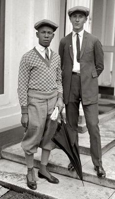menofages: Thomas W. Miles and Simon Zebrock of Los Angeles 1924 vintage men's wear casual day suit sportswear knickers short pants shoes spats sweater shirt tie jacket newbie hat 20s era
