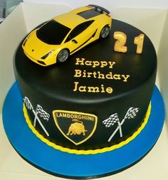 Lamborghini Car Birthday Cake For Boy Name Write Pictures