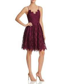AQUA Lace Cami Dress | Bloomingdale's - - This is fun! It's a really great lengther - - it won't appear too long! And the lace is so fun! It's a little in between flowy and a little more conservative. A really fun choice that is young and playful!