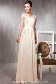 Chiffon Cap Sleeves Lace Applique Long Modest Women Discount Evening Prom Dress Designs Online,Evening Prom Dress-Evening prom dress, UK pro...