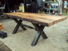 """Item #: RC3492 """"X"""" Base Tables - Recycling The Past - Architectural Salvage"""