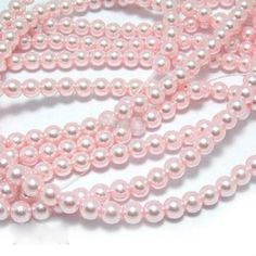 Glass Pearl Beads 8mm - Baby Pink, 100pcs