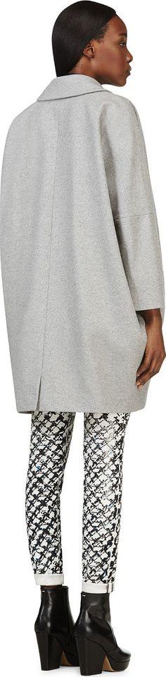 Mm6 Maison Martin Margiela: Grey Boxy Wool Coat