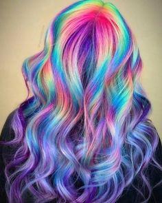 Pretty Hair Color, Hair Color Purple, Hair Dye Colors, Hair Color For Black Hair, Rainbow Hair Colors, Rainbow Dyed Hair, White Hair, Hidden Rainbow Hair, Hidden Hair Color