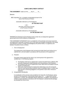 Employment Agreement (USA) - Legal Templates - Agreements ...