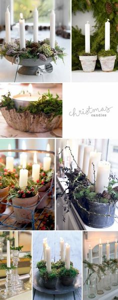 tabitha emma As I was collecting christmas inspiration, I came across some trends. Candles in vintage vessels (such as metal pots, tins, cermaic pots or bottles) and surrounded by greenery, such as moss and pin. Noel Christmas, Christmas Candles, Country Christmas, Winter Christmas, Christmas Crafts, Christmas Displays, Advent Candles, Diy Candles, Natal Country