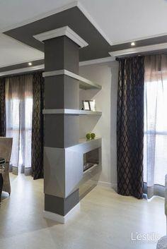 44 Modern Simple Decor That Make Your Home Look Fabulous Interior Columns, Home Interior Design, Interior Exterior, Lobby Interior, Interior Modern, Living Room Divider, Living Room Decor, Kitchen Wall Design, Pillar Design