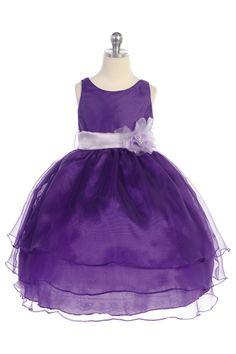 Purple Organza Simple Layered Flower Girl Dress with Sash CD-574-PP $56.95 on www.GirlsDressLine.Com